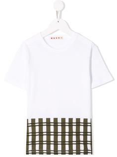 Marni Kids футболка со вставками в клетку