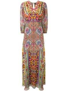 Etro длинное платье с принтом