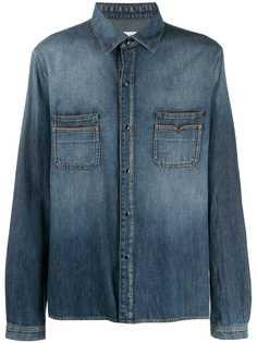 Saint Laurent джинсовая рубашка с эффектом потертости