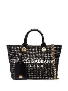 Dolce & Gabbana твидовая сумка-шопер с логотипом