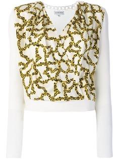 Carven блузка с запахом и цепочным принтом