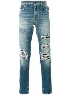 Saint Laurent рваные джинсы с заклепками