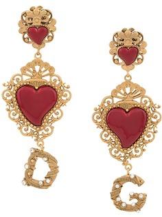 Dolce & Gabbana серьги в форме сердца с логотипом