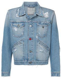 MJB Marc Jacques Burton укороченная джинсовая куртка с рваными деталями