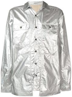 Rick Owens DRKSHDW куртка-рубашка с накладными карманами и эффектом металлик