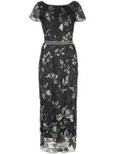 Marchesa Notte вечернее платье с эффектом металлик и отделкой бусинами