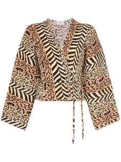 Nanushka блузка Ehara с анималистичным принтом