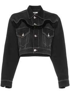 Ganni укороченная джинсовая куртка Rienzi с бахромой