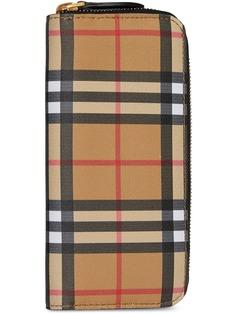 Burberry кошелек с круговой молнией в клетку Vintage Check