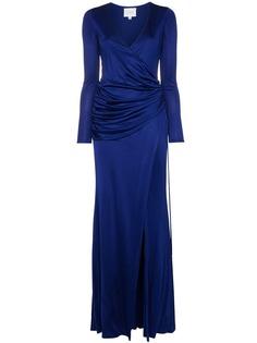 Galvan платье макси Allegra со сборками и высоким разрезом