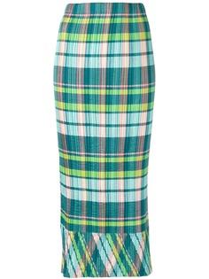 Issey Miyake Pre-Owned плиссированная юбка в клетку мадрас