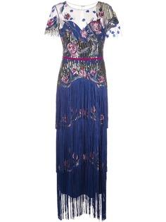Marchesa Notte ярусное вечернее платье с бахромой