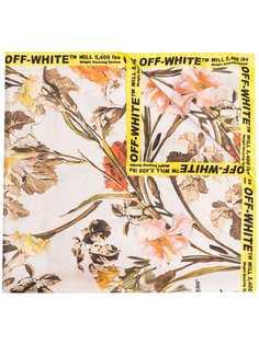 Off-White платок с цветочным принтом и логотипом