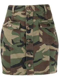 Saint Laurent юбка мини с камуфляжным принтом