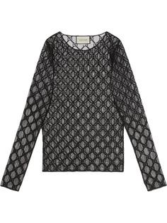 Gucci футболка из тюля с вышивкой GG