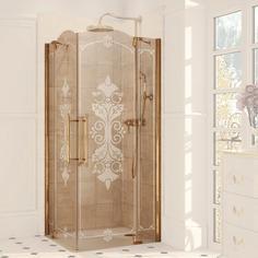 Душевое ограждение Studio Victorian SV0102.031.344 Бронзовый профиль, матовое стекло с декором Huppe
