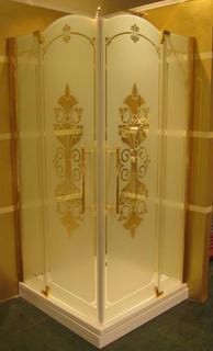 Душевое ограждение Studio Victorian SV0101.031.344 Профиль и фарнитура бронза, матовое стекло Huppe