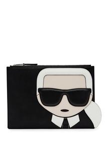 Черный клатч с аппликацией Karl Lagerfeld