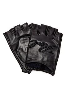 Черные кожаные митенки с вышивкой Karl Lagerfeld