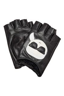 Черные кожаные митенки с отделкой Karl Lagerfeld