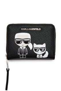 Черный кошелек с рисунком Karl Lagerfeld