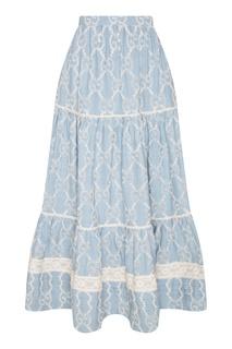Голубая юбка с кружевной вышивкой Gucci