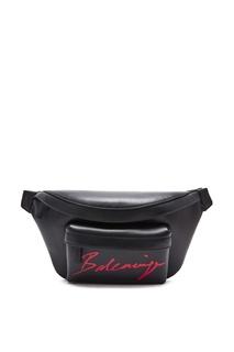 Черная с красным поясная сумка Signature Everyday Balenciaga