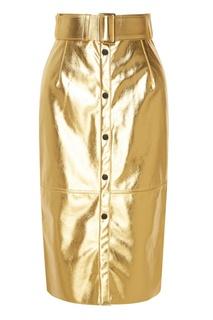 Золотистая юбка из экокожи Msgm