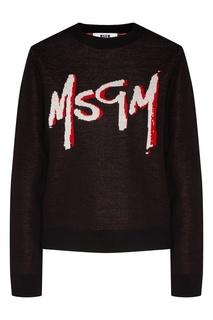 Черный джемпер с контрастным логотипом Msgm