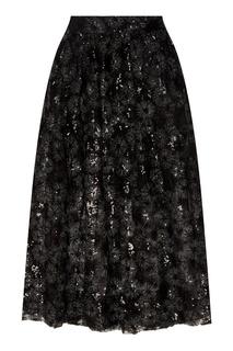 Черная тюлевая юбка с пайетками Maje