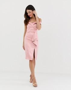 Платье-футляр с открытыми плечами и разрезом City Goddess - Розовый