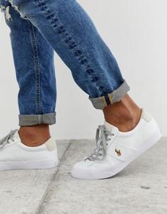 Белые парусиновые кроссовки с разноцветным логотипом в виде игрока поло Polo Ralph Lauren sayer - Темно-синий