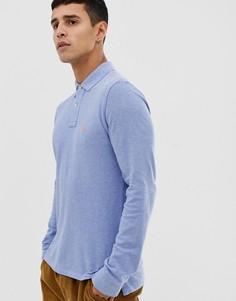 Светло-синее приталенное поло с длинными рукавами Polo Ralph Lauren - Синий