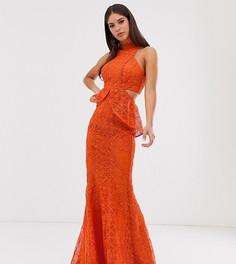 Платье макси с годе, вырезами и кружевной отделкой ASOS DESIGN Tall - Красный