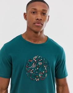 Сине-зеленая футболка с аппликацией логотипа Pretty Green - Синий