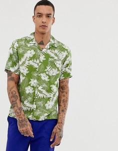 Зеленая рубашка с отложным воротником, коротким и рукавами и цветочным принтом Pretty Green - Зеленый