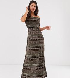 Платье макси с открытыми плечами и принтом пейсли Brave Soul Tall Juliet - Черный