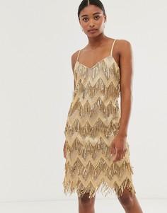 Платье мини с зигзагообразным рисунком и кисточками City Goddess - Золотой
