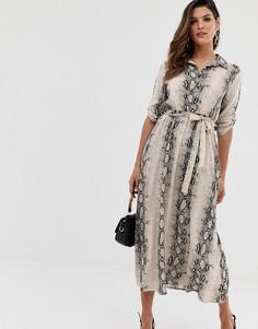 Платье-рубашка со змеиным принтом и поясом Liquorish - Мульти