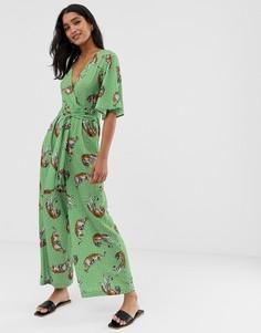 Зеленый комбинезон с широкими штанинами и тигровым принтом Liquorish - Зеленый