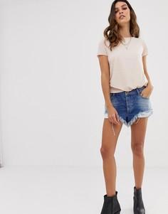 Свободные шорты с заниженной талией и необработанным краем One Teaspoon - Синий