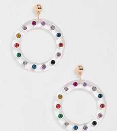 Прозрачные серьги-кольца с разноцветными камнями ALDO Kedynia - Мульти