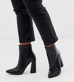 Черные ботильоны на каблуке с рисунком крокодиловой кожи эксклюзивно от Glamorous - Черный