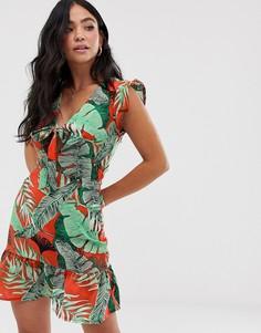 Чайное платье с завязкой спереди и тропическим принтом Parisian - Красный