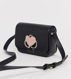 Черная кожаная сумка через плечо с логотипом Kate Spade - Черный