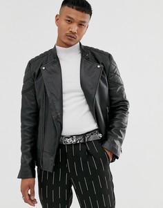 Черная кожаная куртка со стеганой подкладкой ASOS DESIGN - Черный