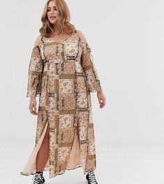 Платье макси с открытыми плечами и платочным принтом Koko - Мульти