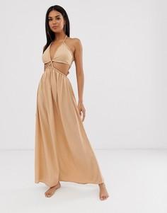 Пляжное платье макси с вырезами ASOS DESIGN - Коричневый