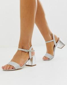 Серебристые босоножки на низком блочном каблуке New Look - Серебряный