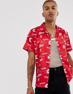 Красная атласная рубашка с отложным воротником и принтом Karl Kani - OG - Красный